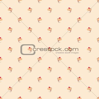 Seamless vector pattern or background with little cupcakes, muffins, sweet cake and red heart on top.