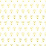 Seamless vector pattern with hand drawn yellow light bulbs on white background