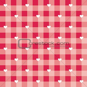 Seamless sweet red valentines vector background - checkered pattern or grid texture with white hearts
