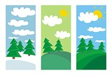 Summer, spring and winter landscapes flat design banners with green trees and white clouds vector illustration