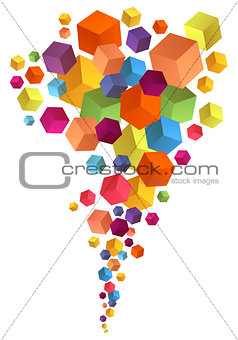 Abstract 3D cubes, vector background