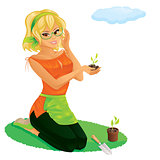 Pretty girl gardening