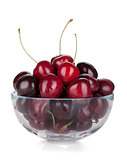 Ripe cherries in a glass bowl