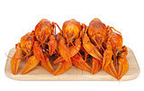 Boiled crayfishes on cutting board