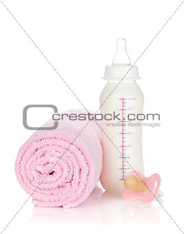 Baby bottle, pacifier and towel