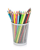 Various colour pencils in holder