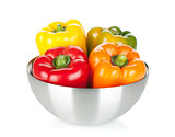 Four bell peppers in a bowl