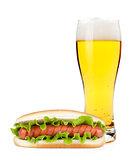 Lager beer and hotdod glass