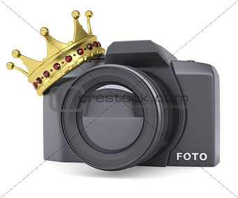 Professional camera and gold crown