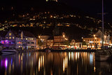 Night panorama of Bergen, Norway, Sacndinavia