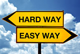 Hard way or easy way, opposite signs