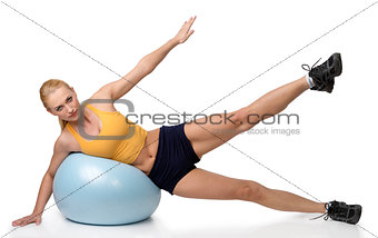blond woman stretching exercises