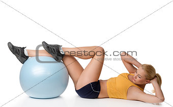 blond woman in stretching pose