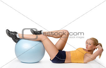 blond woman in stretching body