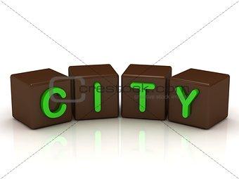 CITY inscription bright green letters