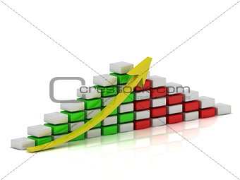 Business growth chart of the white, red and green blocks in a checkerboard pattern