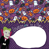 Happy Halloween invitation with Dracula