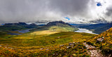 Panoramic view of beautiful lakes and clouds in Inverpolly area,