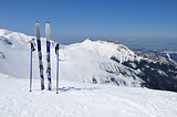 Skis, ski poles and Giewont in Tatra mountains