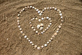 Seashells on the sand in the form of heart