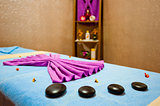 Decorations massage table in the room Spa