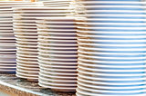 Piles of clean utensils
