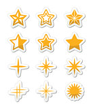 Gold stars vector icons set