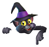 Pointing cartoon witchs cat