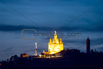 Tibidabo church at night, Barcelona