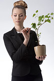 pretty career girl with money plant