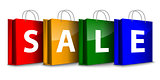 Colorful shopping bags with the SALE word
