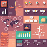 Infographics of flat design with long shadows