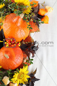 Autumn decoration with hokkaido pumpkins and sunflowers