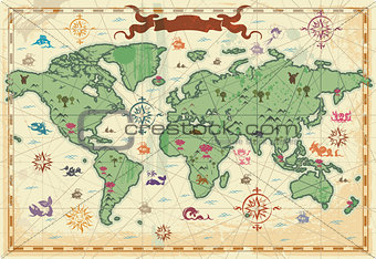 Colorful ancient World map