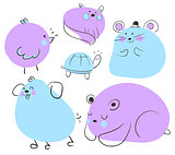Blue and Purple Animal Doodles.