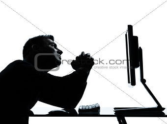 one business man silhouette computer computing begging despair