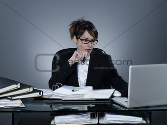 business woman working busy computing laptop computer