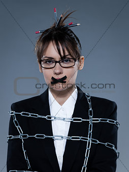 business woman secretary chained