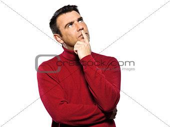caucasian man thinking pensive