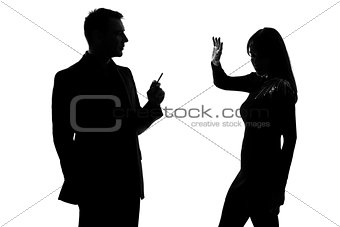one couple man smoking cigarette and woman disturbed