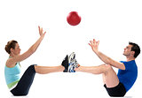 couple woman man fitness ball exercise