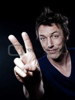 Funny Man Portrait victory sign