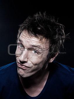 Funny Man Portrait puckering