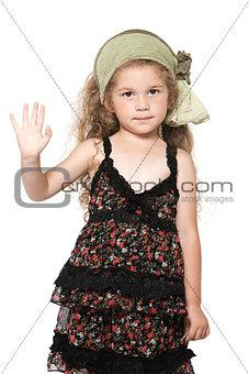 Little girl high five salute