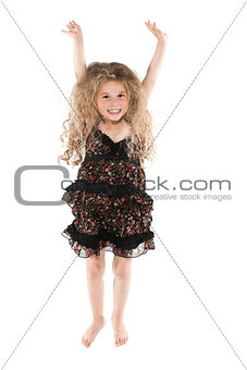 Little girl jumping happy