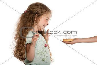 Little girl portrait happy with birthday cake