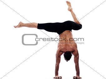 Man yoga handstand full length gymnastic acrobatics