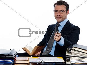 business man professor teacher  beckoning pointing camera