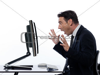 business Man  computer computing surprised