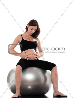 Pregnant Woman Relax sit on fitness ball